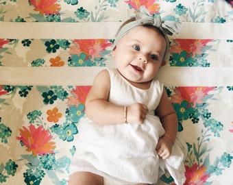 Hawaiian flower baby blanket