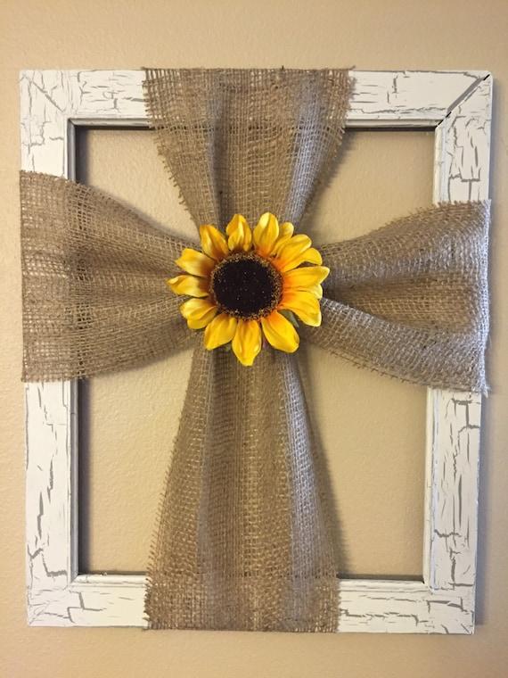 white burlap sunflower wall decor. Black Bedroom Furniture Sets. Home Design Ideas