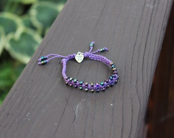 Beaded Dark Purple Hemp Bracelet