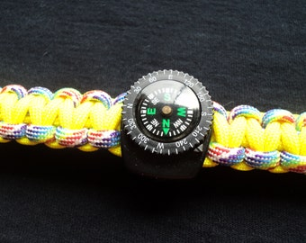 Paracord Bracelet, Yellow with Rainbow accent, plus Working Compass