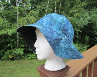 Blue Batik Floppy Brim Sun Hat