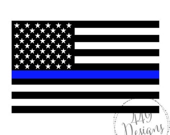Police and Law Enforcement Support Flag Thin Blue Line Vinyl Decal for car windows, water bottles, yeti, etc.