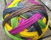 Orchid | 5-Color Self-Striping Sock Yarn | Dyed to Order | Green Pink Yellow Gray Yarn | Hand Dyed Yarn | Handmade Knit Socks