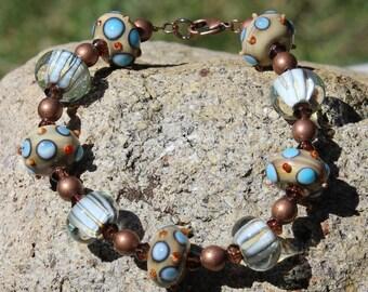 Cafe au Lait (Brown, Light Blue, Copper) bracelet
