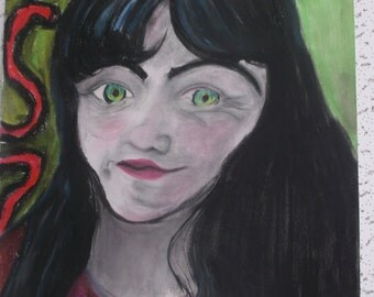 Looking Glass Oil Chalk Drawing