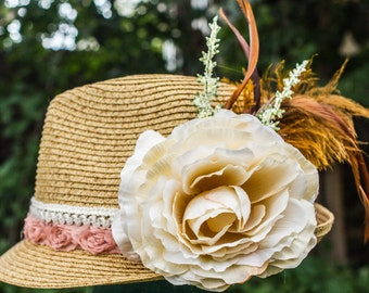 Straw Fedora With custom Flowers and Feathers