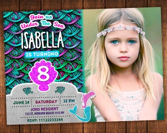 Mermaid Invitation for Girl. Mermaid Birthday Invitation, Mermaid Party, Mermaid Digital, Under The Sea, Sea Invitation, Girl Sea Party