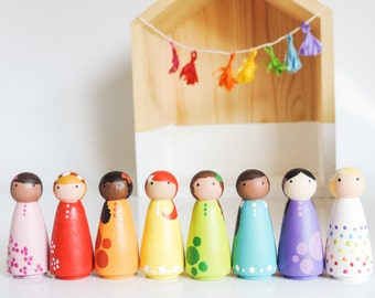 Waldorf Rainbow Peg Dolls - Little Wooden Peg People - Girl Room Decor - Peg Doll Set - Wood Dolls