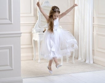 Ivory or White Flower Girl Dress Bridesmaid or First Holy Communion 1-12