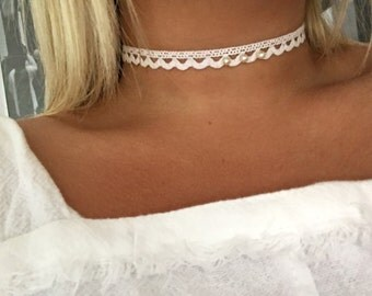 White Lace Crochet Choker with Pearls