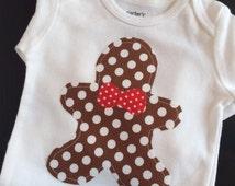 Gingerbread Man Onesie, Gingerbread Onesie, Christmas Onesie, Xmas Onesie,  Christmas Baby, Holiday Onesie-Dark Brown Gingerbread Man