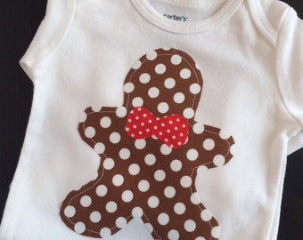 Gingerbread Cookie Bodysuit, Gingerbread Man Bodysuit, Christmas Bodysuit, Christmas Baby, Christmas Baby Outfit