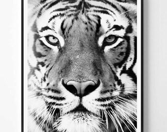 Tiger Print, Tiger printable Wall Art, Safari animal, Animal, Black and white print, Safari African Animal Print, Scandinavian printable