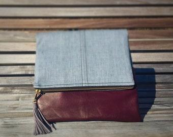 Blu Clutch: Grey cloth with Burgundy Leather