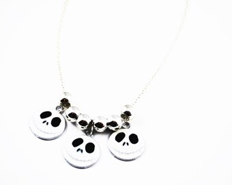 Nightmare Before Christmas Jack Skellington Silver Charm Necklace