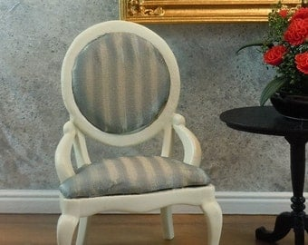 Dollhouse Miniature furniture, off white chair with green striped upholstery. Item #154.