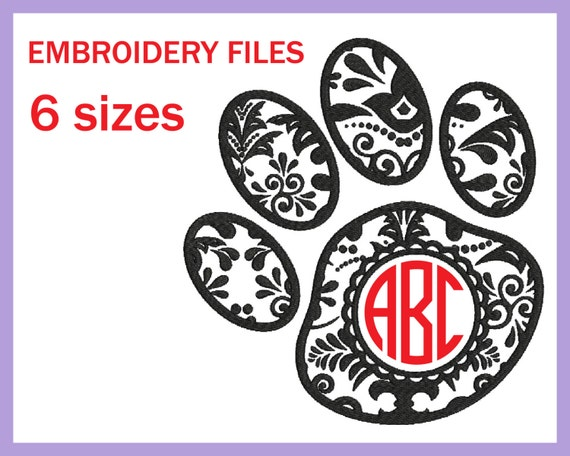 Circle paw zentangle v design for embroidery by embroplanet