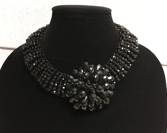 Unique Black Flower Crystal Beaded Statement Necklace - Bib Necklace, Collar Necklace, Special Occasion, Prom, Wedding, Anniversary