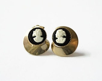 Vintage Black & Gold Cameo Earrings