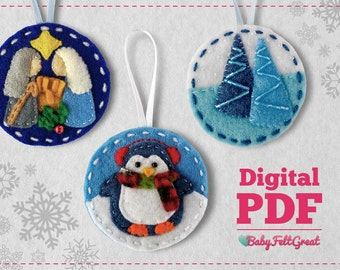 Digital PDF Pattern DIY Christmas felt ornaments, blue Set 1, Nativity, Penguin and pines, Instant download