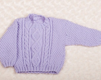 Lilac Round Neck Cabled Sweater