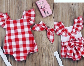Red and White Gingham Ruffle Romper with matching hair bow