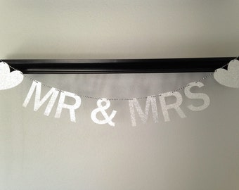 Mr & Mrs Banner, Wedding Banner, Wedding Photography Prop, Mr and Mrs Sign, Silver Wedding Banner, Gold Wedding Banner, Wedding Decoration