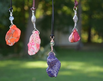 Marbled stones and beads pendants with leather cord