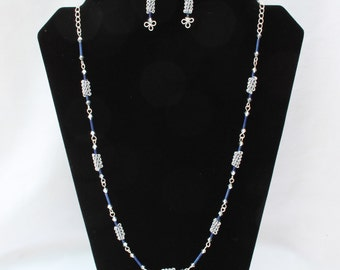 A Coiled Silver and Blue Necklace with Matching Earrings, Silver Painted Beads, Silver Coated Wire, Trefoil Wirework.