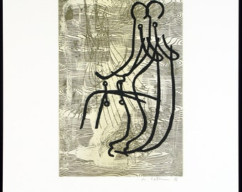 Anglerinnen V, 1988. Etching and photo-engraving by Markus OEHLEN