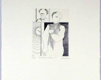 Hamletparaphrase II, 1982. Copper engraving by Jürgen CZASCHKA