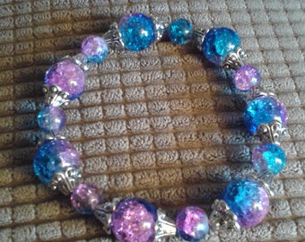 Blue/Pink Glass Bead Bracelet