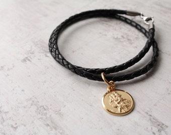 9ct Solid Gold Circular Saint Christopher Medal - Leather Necklace - Saint Christopher Necklace