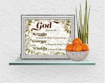 Serenity Prayer Instant Download, Set of 5 Serenity Prayer Illustrations ready for framing