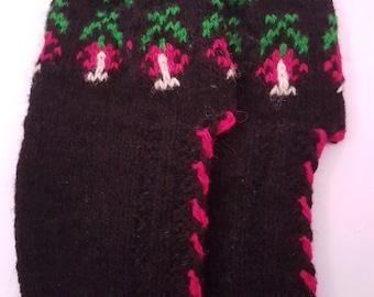 Handmade knitted wool slippers for women