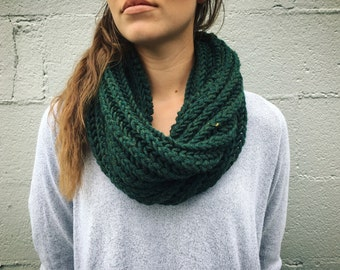 Hand Knitted One Loop Infinity Scarf. Comes in multiple colors, soft and warm.