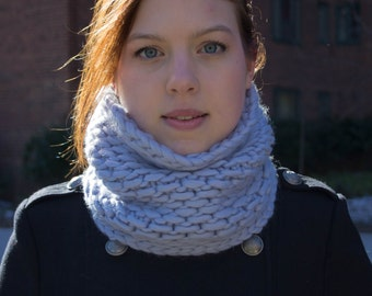 Soft + Bulky Cowl Scarf, Wool Snood Infinity Scarf, Purple Lilac Periwinkle Wool, Handmade Knit Made in USA