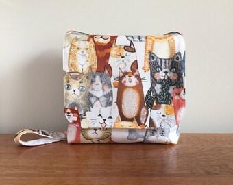 Kids Messenger Bag, Children's Messenger Bag, Girls Cross Body Bag, Cute Cat Print