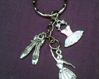 Dance Three Charm Key Ring