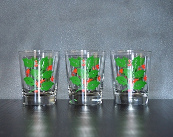 Vintage Holly Berry Tumbler - 14 oz - Indiana Glass - Set of 3