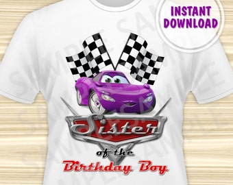 Cars Sister of the Birthday Boy Iron On Transfer. Cars Iron On Transfer. Diy Cars Birthday Shirt. DIGITAL FILE.