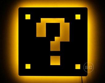 Lighted Mario Block Sign - Mario Brothers Wall Lamp - Retro Nintendo Theme Decor