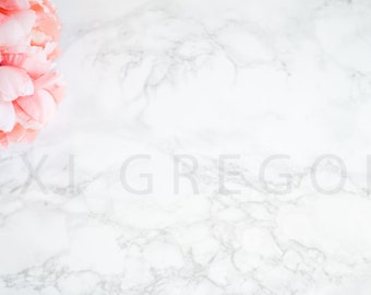 Styled Stock Photography / Digital Background / Styled Photography / JPEG Digital Image / Stock Image / Marble Stock Image / Pink Flowers