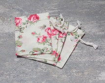 20 floral drawstring bags with drawstring gift bags in cotton jewellery packaging pouches drawstrings 3 x 4 roses favor bags gift pouches