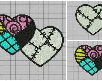 Jack and Sally Patchwork Hearts Full Stitch Machine Embroidery Design - Nightmare Before Christmas Love Set of three designs