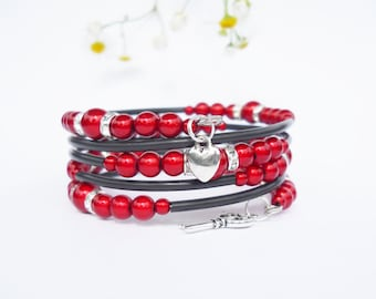 Bracelet, red, black, heart, key, crystal