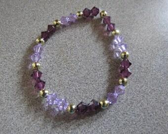 Swarvoski Crystal Stretch Bracelet in Purple