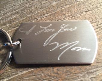 Handwritten Key Chain, Handwriting Engraved Key Chain, Memorial Gift,  Actual Handwriting, Handwriting Gift, Easy Gift for Him or Her
