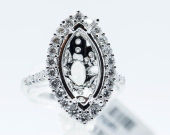 18k White Gold Diamond Pear Shape Mounting D 1.45 Ct. Wedding Engagement Ring
