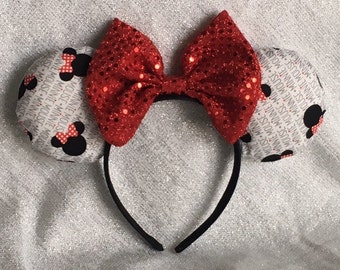 Classic Black/White/Red Minnie Mouse Ears